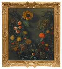 garland with fruits and a sunflower by cornelis kick