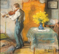 violin playing young man in an interioir by otto heichert