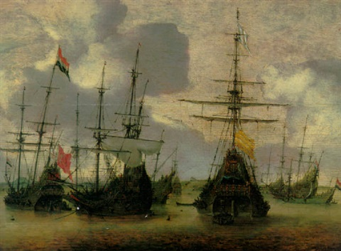 dutch men o war anchored off the coast by hendrick van anthonissen