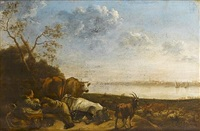 a shepherdess and cowherd resting with their livestock in a river meadow at dusk by jan van ossenbeeck