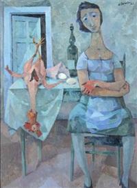frau mit hahn (kücheninterieur) by richard eberle
