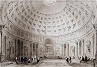 the interior of st. peter's, rome (+ 5 others; 6 works) by william henry bartlett