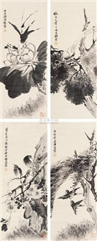 花鸟 (in 4 parts) by li shijun