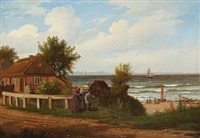 a fisheman's family overlooking the fishermen's preparations at the beach by peter (johann p.) raadsig