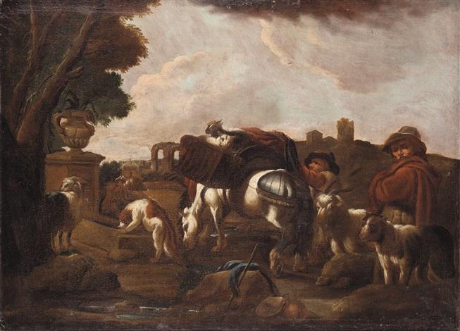 paesaggio con pastore e armenti by philipp peter roos