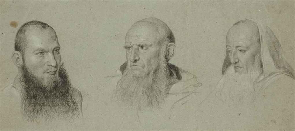 têtes de moines camaldules by paul hippolyte delaroche