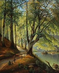 forest scenery with new beech leaves and people in rowboat by siegfried hass