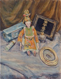 still life with japanese puppet by herta spielberg