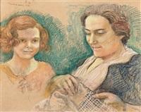 portrait de jeanne chaumat et sa fille violette by maurice denis