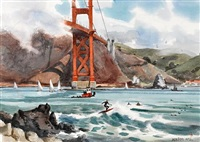 surfers at the golden gate bridge, fort point, san francisco by jade fon
