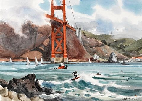 surfers at the golden gate bridge fort point san francisco by jade fon