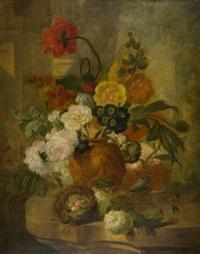 blumenstrauß mit rosen, aurikeln, schneeball und einem vogelnest auf einer steinernen brüstung by pieter faes