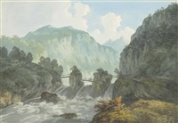 view of a bridge over the river trient, near chamonix, on the french-swiss border by john warwick smith