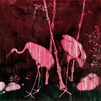 flesh, flowers and birds - cranes and bamboos (from pork belly series) by chang ling