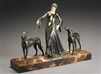 art deco chryselephantine sculpture of a woman walking two dogs by anonymous (20)