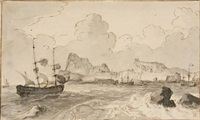 schiffe vor hafen an einer felsküste by jacobus storck