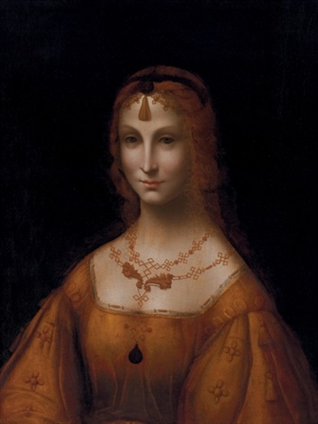 portrait of a young lady in a gold silk dress by leonardo da vinci