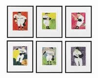 the world series, yankees vs. dodgers (set of 6 works) by justin mccarthy