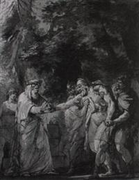 szene aus der hermansschlacht von klopstock by josef abel