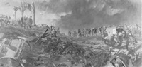 wwi troops reviewing damage by stanley meltzoff