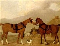two carriage horses in harness, with terriers and a horsedrawn carriage by a cottage by clifton thompson