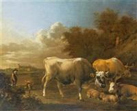 landschaft mit hirten und herde by albert jansz klomp