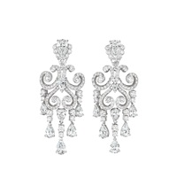 impressive pair of les danses fantasques giselle diamond ear pendants by fabergé (co.)
