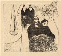 breton women (les vielles filles a arles) by paul gauguin