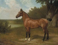 lord bingley's hunter in a wooded river landscape by jacques-laurent agasse