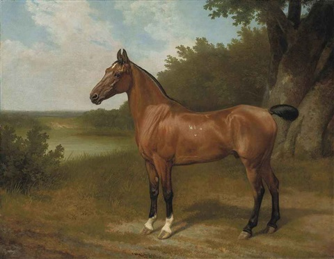lord bingleys hunter in a wooded river landscape by jacques laurent agasse