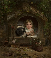 a girl and her dog in a dog house by joseph henry sharp