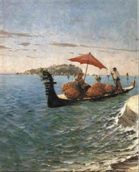 a gondola carrying an orange seller by eugen zardetti