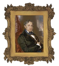 charles hanbury, 1st baron sudeley, seated in red upholstered chair, in black coat, brown waistcoat and knotted blue cravat; red curtain, foliage, pillar and sky background by charles j. basebe