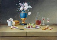 still life with flowers, fruit, wine and bread (+ 5 others; 6 works) by paul lelong
