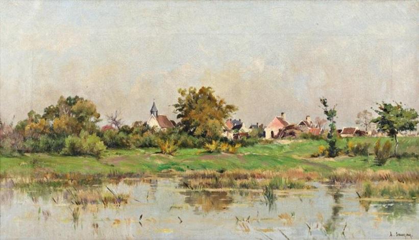 village au bord de la rivière by adrien jacques sauzay