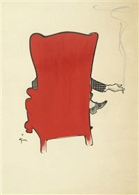homme au fauteuil rouge de dos by rené gruau