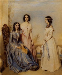 portrait of three young ladies beside a balustrade by samuel barry godbold