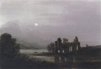 moonlight, ross abbey by john wilson ewbank