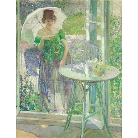mimi woman in a green dress by richard edward miller