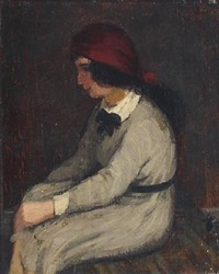 a sitting young woman in a grey dress and red scarf by helge helme