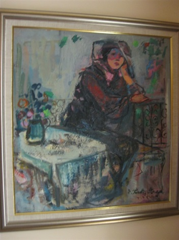 untitled seated lady on a balcony by esther peretz arad