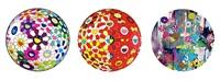 a. flowerball brown b. kansei abstraction c. flower ball red 3d the magic flute by takashi murakami