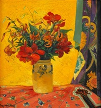 still life of flowers against a yellow drape by maximilian vanka