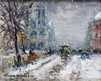 paris, notre-dame sous la neige by merio ameglio