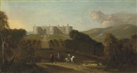 a view of chirk castle with elegant figures on horseback in the foreground by peter tillemans