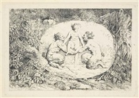 quatres bacchanales (set of 4 works) by jean honoré fragonard