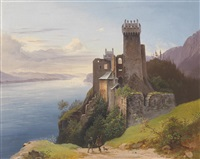 blick auf die ruine weitenegg an der donau by josef holzer
