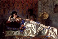 the odalisque and her attendant in the harem by ramón amado y bernardet