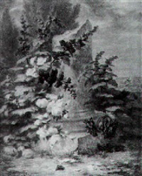 rosiers et fleurs au pied d'une colonne tronquée, dédiée à caroline saint-jean by simon saint-jean