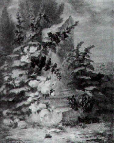 rosiers et fleurs au pied dune colonne tronquée dédiée à caroline saint jean by simon saint jean